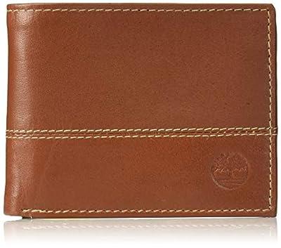 Timberland Men's Hunter Leather Passcase Wallet Trifold Wallet Hybrid, Cognac