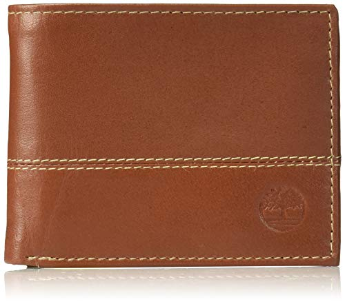 Timberland Men's Leather Passcase Trifold Wallet Hybrid, Cognac