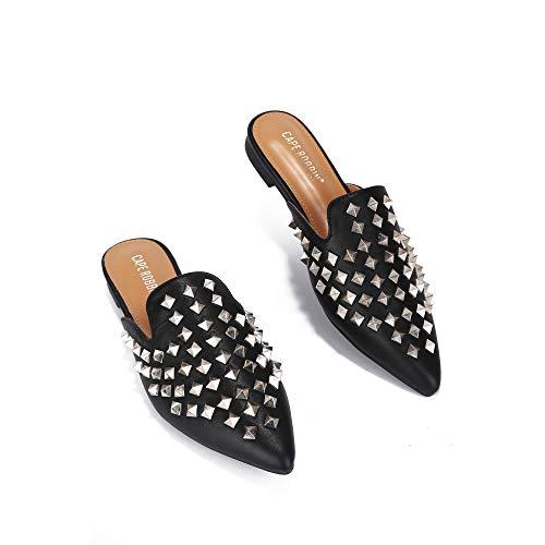Cape Robbin Enny Flat Sandals Slides for Women, Womens Mules Slip On Shoes - Black Size 8.5