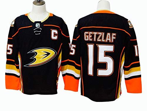 Gmjay Anaheim Ducks 17# 10# 15 Hockey Jersey Hockey Schwarz Genähte Buchstaben Zahlen NHL Langarm T-Shirt,black-15,M