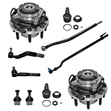 Detroit Axle - 10PC Front Wheel Hub & Bearing Assembly, Upper Lower Ball Joints, Inner and Outer Tie Rods for 1999-2004 Ford F-350/F-250 Super Duty SRW - Coarse Threads 4x4 w/ABS