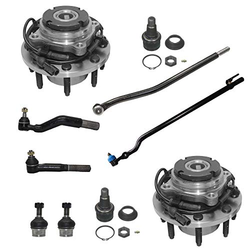 Detroit Axle - 4WD SRW Front Wheel Hub Bearing Ball Joints Inner and Outer Tie Rods for Ford F-350 F-250 SD Excursion w/ABS - 10pc Set