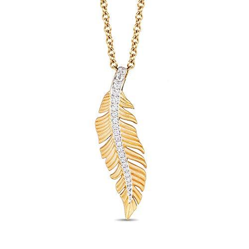 Colgante de plumas de diamante de imitación de corte redondo de 1/10 quilates, cadena de 45,72 cm en plata de ley 925 chapada en oro amarillo de 10 quilates.