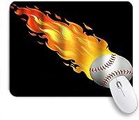 NINEHASA 可愛いマウスパッド 野球の燃焼テーマスポーツ愛好家 ノンスリップゴムバッキングコンピューターマウスパッドノートブックマウスマット
