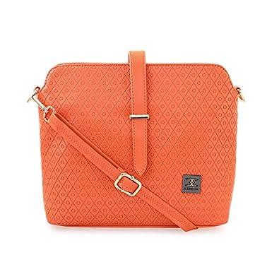 ESBEDA Orange Color Twill Emboss Sling Bag For Women