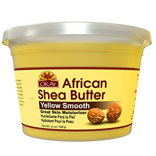 Okay Shea Butter Yellow Smooth All Natural,100% Pure Unrefined Daily Skin Moisturizer For Face & Body Softens Tough Skin Adds Shine&Luster To Hair Alleviates Scalp Dryness 13oz