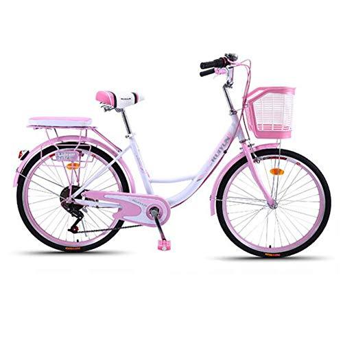 GOLDGOD Cruiser Bike, 24-Zoll-Retro-Fahrrad Im Holländischen Stil Mit Variabler Geschwindigkeit Und Korb Aus Kohlenstoffhaltigem Stahl,Rosa,24inch