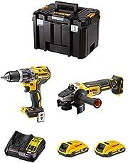 DeWALT Kit DWK208 (klopboorschroevendraaier DCD796 + mini-haakse slijper DCG405 + 2 batterijen 2,0 Ah + oplader + TSTAK VI)