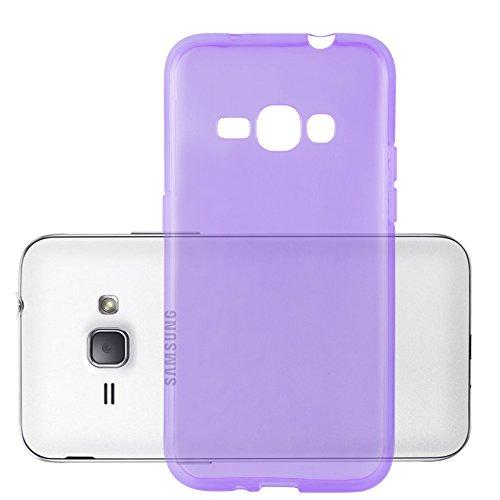Cadorabo Hülle für Samsung Galaxy J1 2016 in TRANSPARENT LILA - Handyhülle aus flexiblem TPU Silikon - Silikonhülle Schutzhülle Ultra Slim Soft Back Cover Hülle Bumper