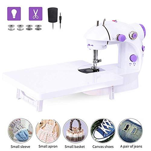 Atra elektrische naaimachine, draagbaar, met verlenging, tafel, monding, stiksel, machine voor thuisgebruik White-purple