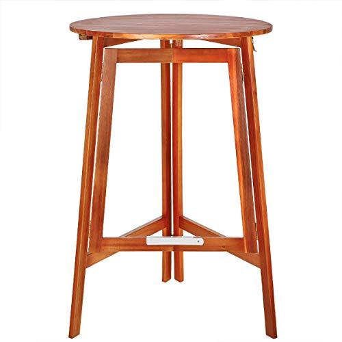 Deuba Stehtisch Klappbar Akazie Holz Massiv Ø 78 x 110cm Rund Bistrotisch Gartentisch Klapptisch Bartisch Balkon Tisch