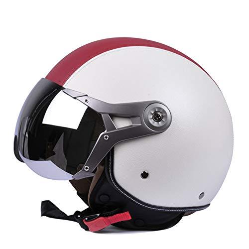 GAOZ Casco retro de media cara para adulto, aprobado por DOT/ECE, casco unisex con visera solar para scooters Cruiser casco vintage de verano para hombres y mujeres