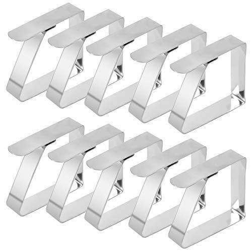 wangjiangda Tischtuchklammer 10 STÜCK Tischdecken Clips aus Edelstahl Silber Metall Verstellbare Tischdeckenhalter Clips Tischtuch Clips Geeignet für Haus Gartenfeste BBQs Partys Buffets