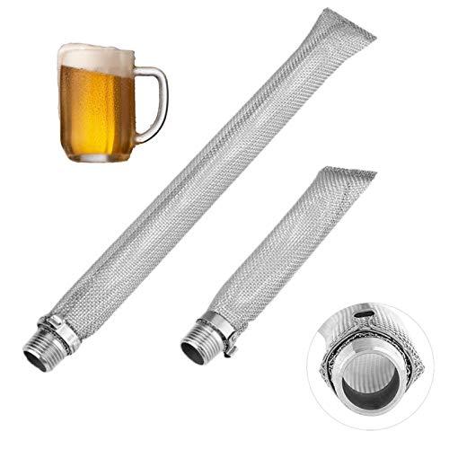 QOTSTEOS - Tubo de filtro de cerveza de acero inoxidable reutilizable, tubo de filtro de cerveza, tubo de hervidor de filtro Mash Tun para Home Brew, Bazooka Screen Kettle Tubo Mash Tun Mall Filter