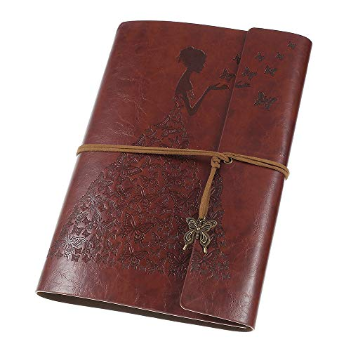 MaleDen Notizbuch Tagebuch aus Leder, Vintage-Spiralbindung, Skizzenbuch, nachfüllbar, Reisetagebuch mit blanko Seiten, Geschenke für Damen und Mädchen A5 rotbraun