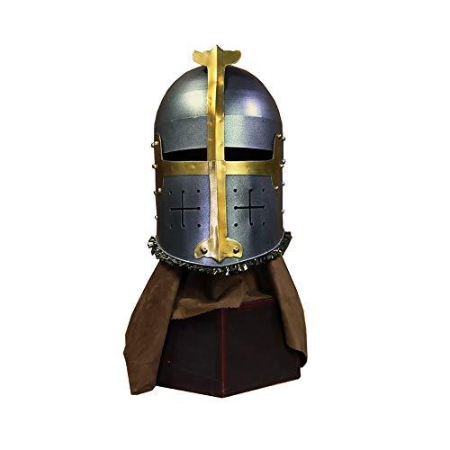 Nvshiyk Disfraz Medieval Metal Cruzada Medieval Golden Cross Casco Casco Casco Personalidad Joyera Silver Accesorio para Sombreros de Disfraces (Color : Silver, Size : 26x26x50cm)