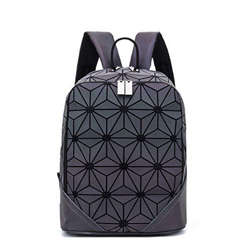 Mochila estilo japonés, luminosa, mate, estilo rombico, bolsa de mano con costuras cuadradas de Rubik, color 2 33*33*15cm