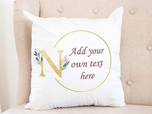 Blafitance Funda de almohada de lona de 50 x 50 cm, funda de cojín personalizada, diseño de inicial, reservado para el mejor amigo, regalo de cumpleaños, para el sofá cama del coche