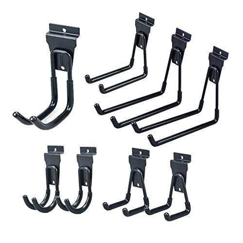 Slatwall Hook,Cheaboom Slat Wall Hooks Storage Hook Garage Hook Space Saver Hanger Rack Extended Wall Mount Tool Holder with Anti-Slip Coating for Panel  Heavy Duty Iron and PVC (8 Pack, Black)
