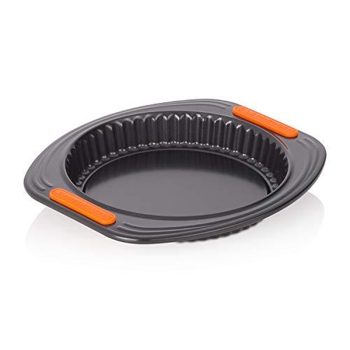 Le Creuset Moule à Tarte Fond Amovible, Ø 30 cm, sans PFOA, Résistant au Levain, En Acier Siliconé, Anthracite/Orange