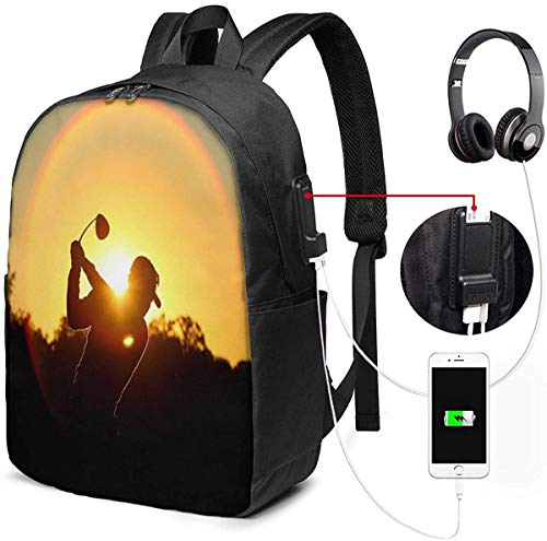 Mochila con Interfaz USB Sports Golf Club 17-Inch Laptop Backpack with USB Charging Port Men's and Women's Backpack TSA College School Business Travel Large Bags
