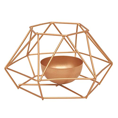 Singeru Moderne Metall Tee Lampe Kerzenhalter Geometrische Eisenhalter Kerzenhalter Kerzenständer Laterne Tee Licht Hauptdekorationen Heim Dekor Gold (A)