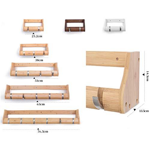 KOKOF Storage rek, Wandplank, Creatieve muur kledingrek woonkamer muur kapstok met opslag muur opknoping rack display stand 51 * 13.5 * 14,5 cm-Bamboo-4hanging