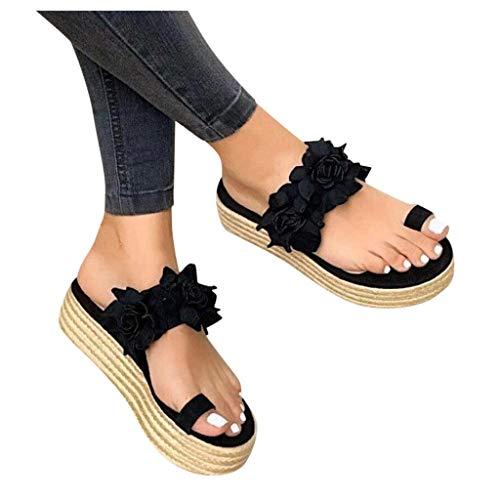 Dasongff Sandalen Damen Sommer Plattform Espadrilles mit Zehenkorrektur Floral Sandalen Plateau Flat Heel Round Toe Sandalen Frauen Peep Toe Casual Flip Flop Schuhe Sandaletten