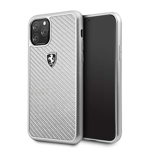 Ferrari Phone Case for iPhone 11 Pro Hard Case Real Carbon Fiber Off Track Silver Carbon Silver Easy Snap-On Drop Protection Shock Absorption Case Officially Licensed.