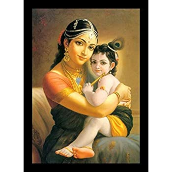 PAF written in a Frame Little Krishna with Yashoda Mayya Painting with Frame for Home décor by PAF (Size 12 x 18)