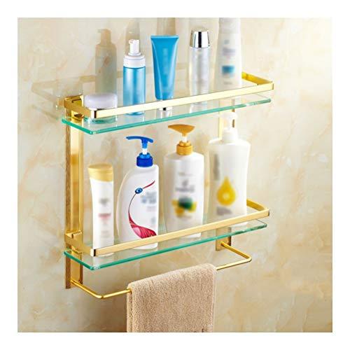 Preisvergleich Produktbild ZhanMaZW Handtuchhalter Badezimmerregal aus Glas mit Handtuchhalter 40~60 cm,  an der Wand befestigt,  verdickter Boden,  robust,  rostfrei,  Kücheneckregal (Color : 2-Layer,  Size : 50cm)
