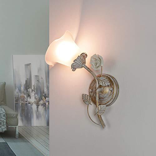 Lámpara de pared romántica, estilo shabby blanco crema floral pantalla de cristal Fleure dormitorio salón lámpara de pared