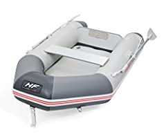"4 chamber construction with high-pressure inflatable keel for better buoyancy Marine-grade plywood transom Easy to assemble floorboards and bench seats - no tools needed Ideal for up to 3 Adults & 1 Child Dimensions: 110"" x 60"" x 16.5"""