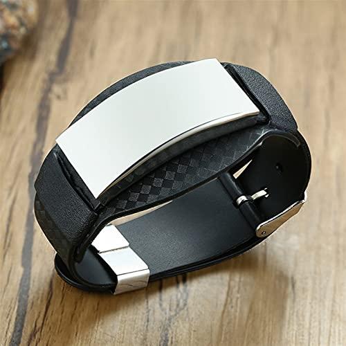 ACEACE Pulseras de los Hombres de la Fibra de Carbono de la Pulsera Ancha con Negro Personalizar brazaletes de Barra de Acero Inoxidable Pulseras (Length : Custom Words, Metal Color : 83667)