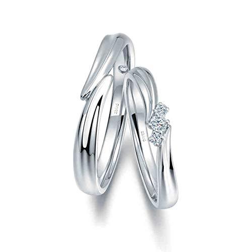 Bishilin Anillos de Promesa para Él y para Ella 18K Oro Blanco Mujer Talla 18,5 & Hombre Talla 26 Cruzar Intersección Diamante Anillos de Compromiso de Alianza de Boda de Aniversario Plata