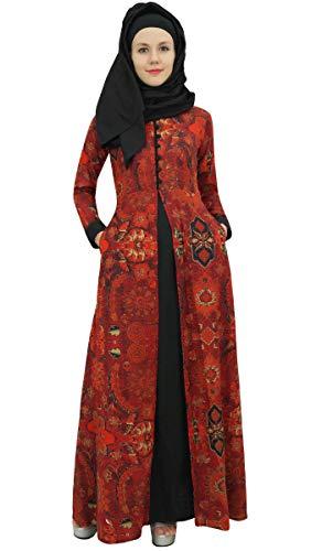 Bimba Women's Orange Long Sleeve Abaya Islamic Dress Maxi Gown Burqa with Hijab - 6