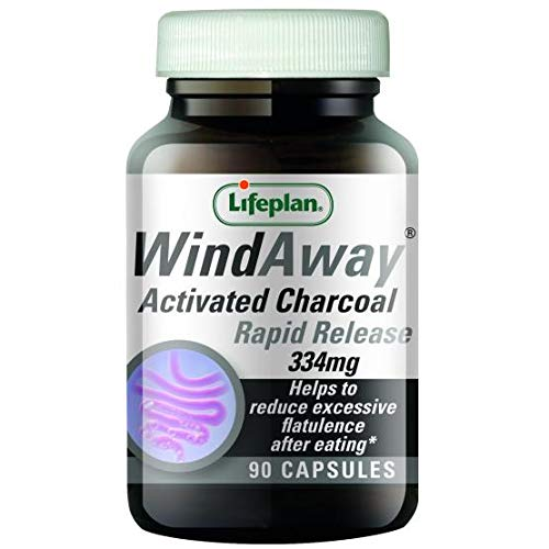 Lifeplan WindAway Rapid Release Activated Charcoal 334mg Supplement — (90 Capsules) — to Help Reduce Excess Flatulence