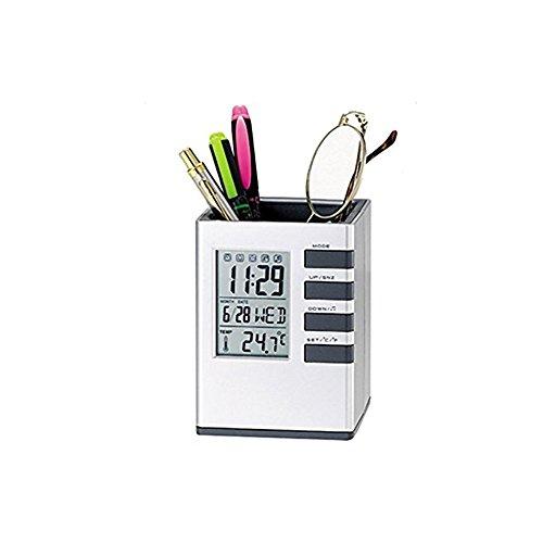 Portalápices con reloj despertador digital LED reloj de escritorio con calendario temporizador termómetro para oficina en casa