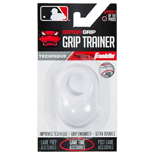 Franklin Sports Baseball Bat Swing Trainer - Gator Grip Grip Trainer - Baseball and Softball Hitting Aid - Knuckle Aligner and Swing Trainer - White