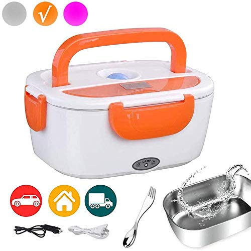 Electric Lunch Box Portable Food Warmer Heating Lunch box, Removable Stainless Steel Portable Food Grade Material Warmer Heater(Including 2 Cable for Car/Home)