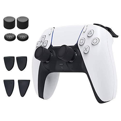 TUTUO Thumbsticks Tappi per Controller PS5 DualSense, 8 Pezzi Cappelli per Pulsanti Controller di Ricambio per Joystick in Silicone, 2 Paia di Extender Pulsanti L2 / R2 e 4 Thumbstick Cappucci