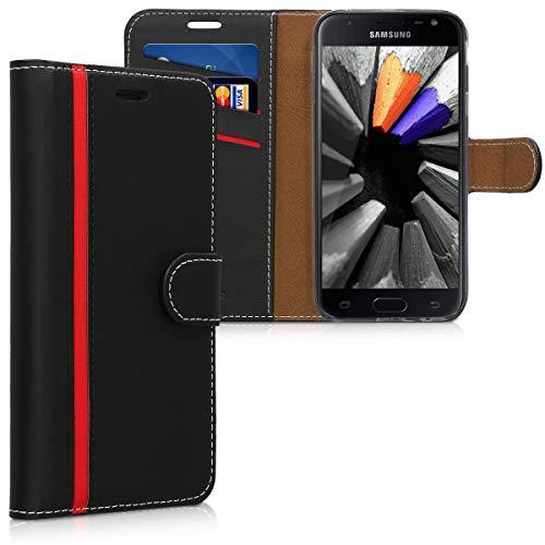 kwmobile Carcasa Compatible con Samsung Galaxy J3 (2017) DUOS - Funda con Tapa y Tarjetero - Piel sintética Negro/Rojo