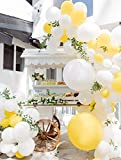 Beaumode DIY Yellow And White Balloon Garland Arch kit for 1st birthday Sunshine Lemon Daisy Honeybee Popcorn Baby Shower Bridal Shower Party Backdrop Decoration