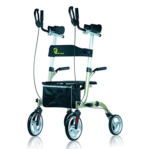 WINLOVE Folding Rollator Walker Mobility Walking Aid with Armrests Standup for Seniors and Adults