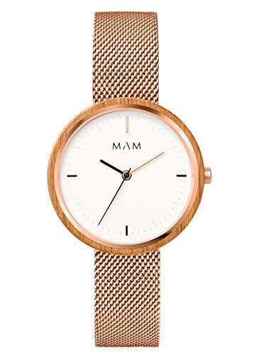 Reloj MAM mujer madera con malla milanesa en acero rosado.669