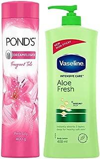 POND'S Dreamflower Fragrant Talcum Powder, Pink Lily, 400 g & Vaseline Intensive Care Aloe Fresh Body Lotion, 400 ml