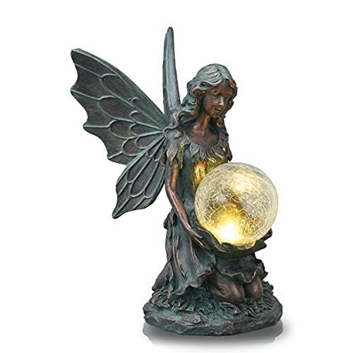 TERESA'S COLLECTIONS Estatua de Jardín Bolas de Vidrio Solares Iluminación cm Estatua de Ángel de Bronce Polystein Figuras de Jardín Figuras Solares 33cm