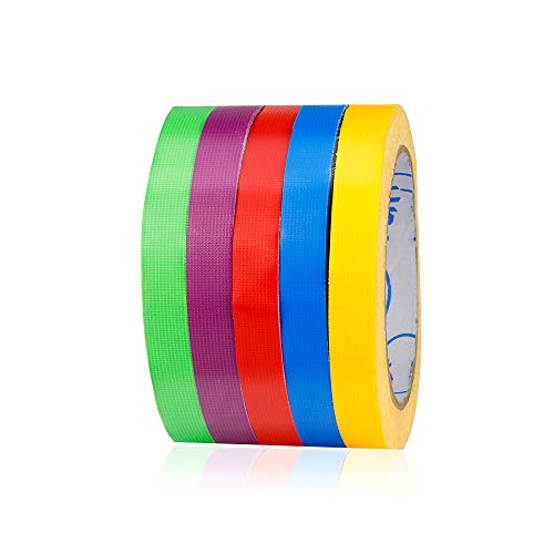 5- Pack TSAUTO Super Bright Colorful Duct Tape Multi Pack for Kids Crafts - Decorative Duct Tape Designs Bulk/Neon Gaffer Color Tape, Fixed Tape, 60ft per roll (0.5 in x 60 ft)