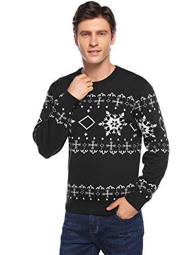 Hawiton Herren Pullover Weihnachten Strickpullover Drucken Weihnachtspullover mit Rundhalsausschnitt,Schwarz,S