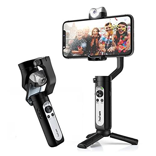 hohem Smartphone Stabilizzatore iSteady V2 a 3 assi con sensore di visione AI integrato/controllo gestuale/batteria di emergenza portatile/4 modalità, compatibile con smartphone come iPhone/Huawei